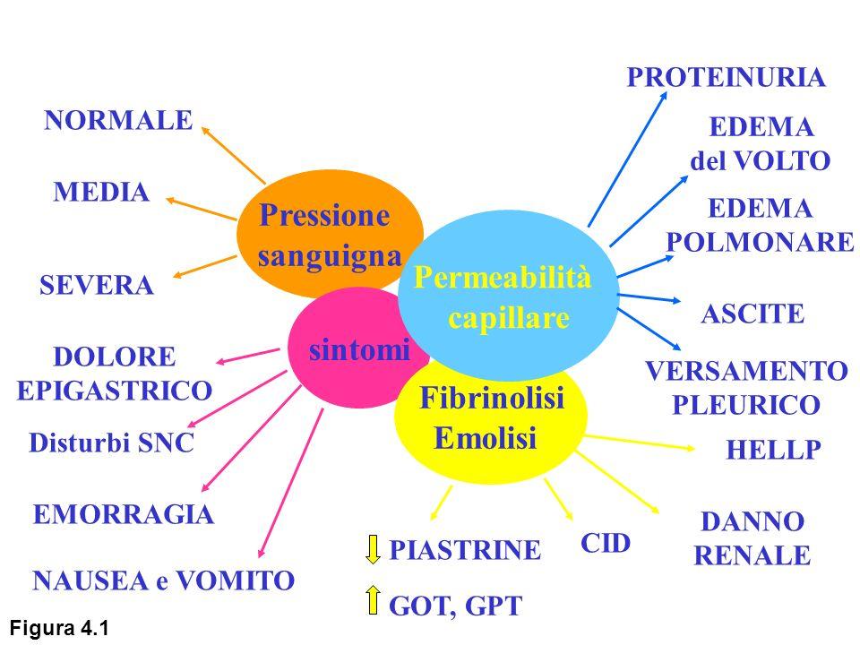 Pressione sanguigna sintomi Fibrinolisi Emolisi Permeabilità capillare NORMALE MEDIA SEVERA DOLORE EPIGASTRICO Disturbi SNC EMORRAGIA NAUSEA e VOMITO