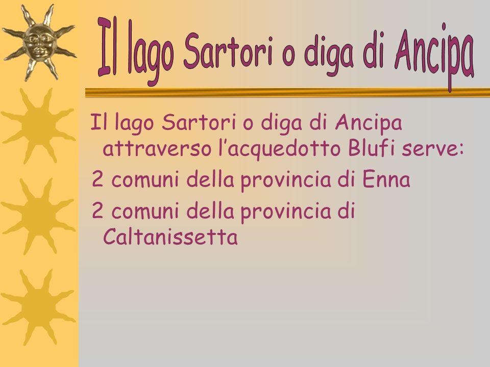 Lacqua potabile arriva a Barrafranca dal lago Sartori o diga di Ancipa, che approvvigiona: 14 comuni della provincia di Enna 1 comune della provincia di Messina