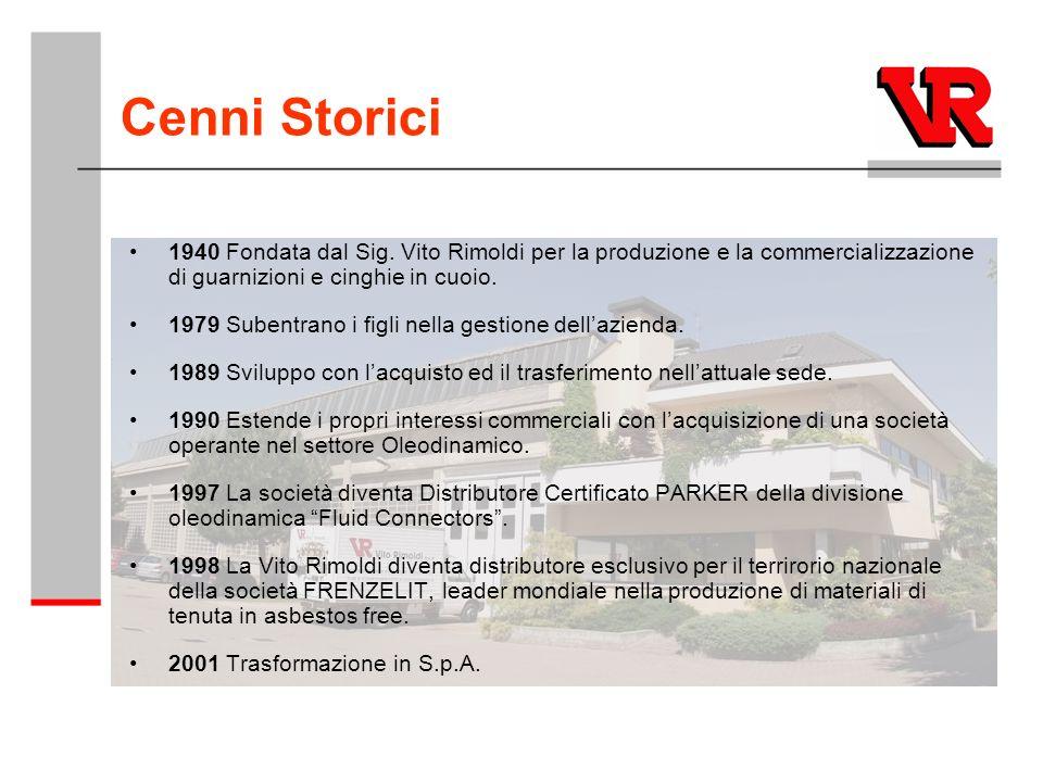Cenni Storici 1940 Fondata dal Sig. Vito Rimoldi per la produzione e la commercializzazione di guarnizioni e cinghie in cuoio. 1979 Subentrano i figli