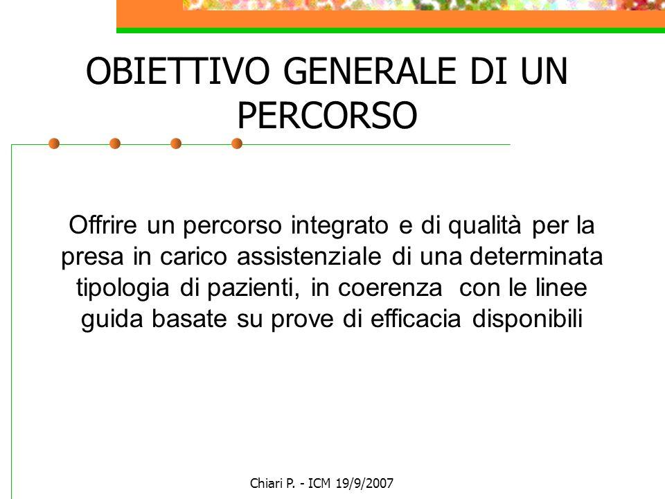 Chiari P. - ICM 19/9/2007 Offrire un percorso integrato e di qualità per la presa in carico assistenziale di una determinata tipologia di pazienti, in