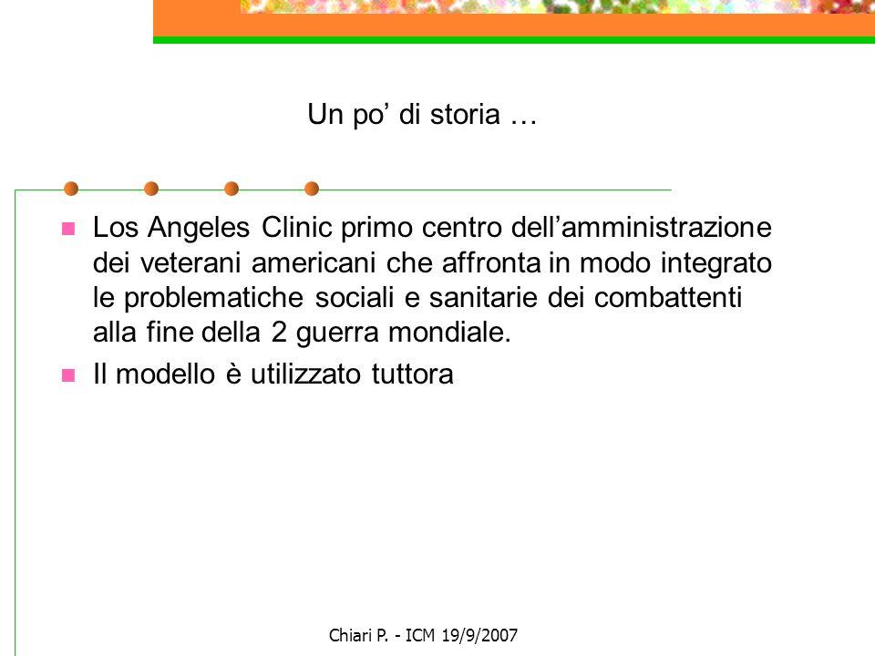 Chiari P. - ICM 19/9/2007 Un po di storia … Los Angeles Clinic primo centro dellamministrazione dei veterani americani che affronta in modo integrato