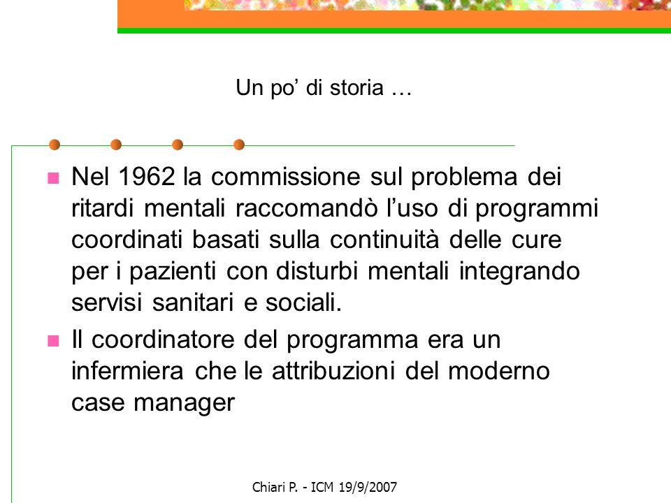 Chiari P. - ICM 19/9/2007 Un po di storia … Nel 1962 la commissione sul problema dei ritardi mentali raccomandò luso di programmi coordinati basati su