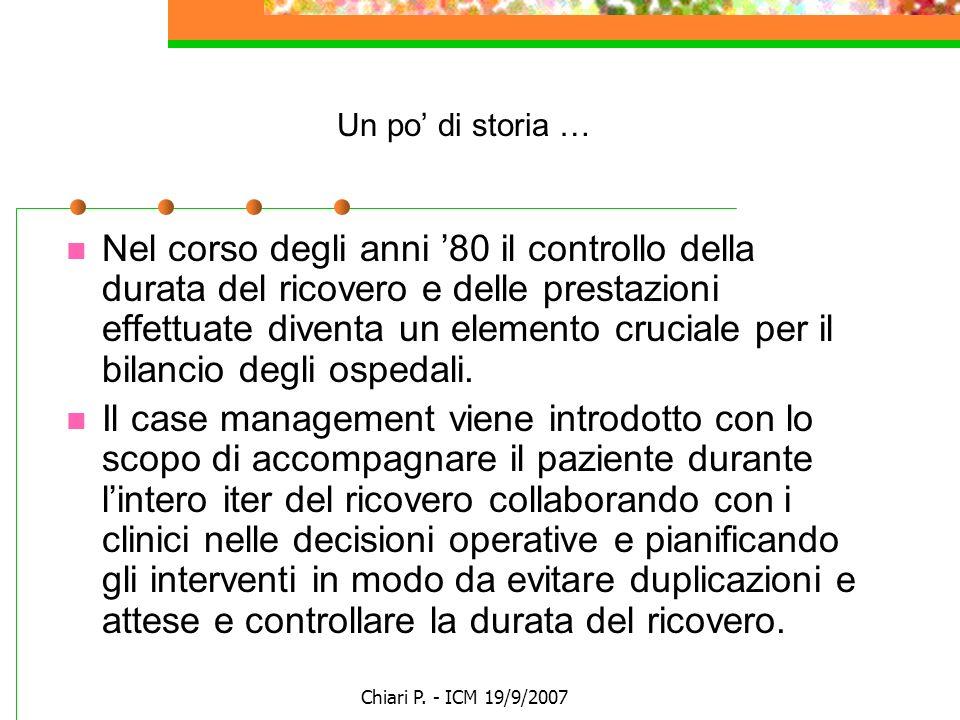 Chiari P. - ICM 19/9/2007 Un po di storia … Nel corso degli anni 80 il controllo della durata del ricovero e delle prestazioni effettuate diventa un e