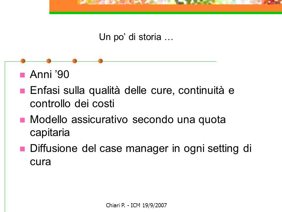 Chiari P. - ICM 19/9/2007 Un po di storia … Anni 90 Enfasi sulla qualità delle cure, continuità e controllo dei costi Modello assicurativo secondo una
