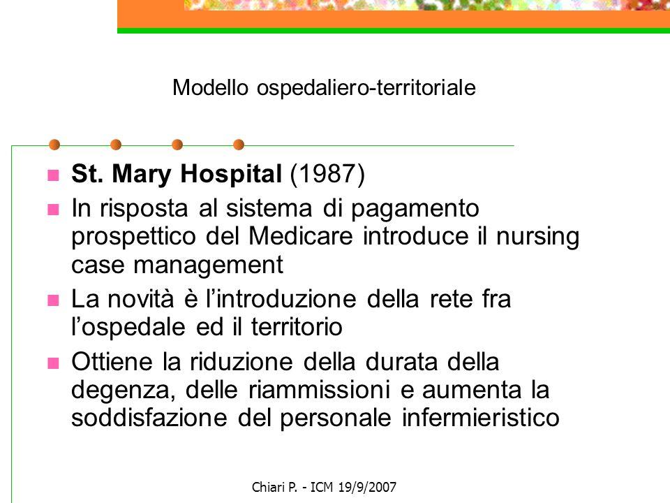 Chiari P. - ICM 19/9/2007 Modello ospedaliero-territoriale St. Mary Hospital (1987) In risposta al sistema di pagamento prospettico del Medicare intro
