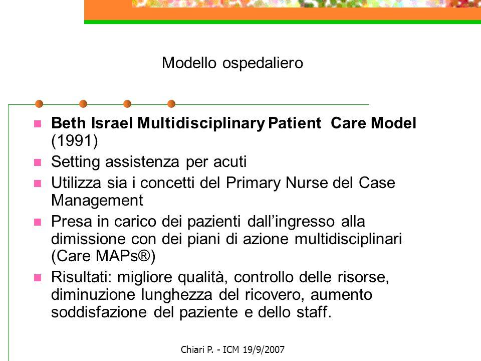 Chiari P. - ICM 19/9/2007 Modello ospedaliero Beth Israel Multidisciplinary Patient Care Model (1991) Setting assistenza per acuti Utilizza sia i conc