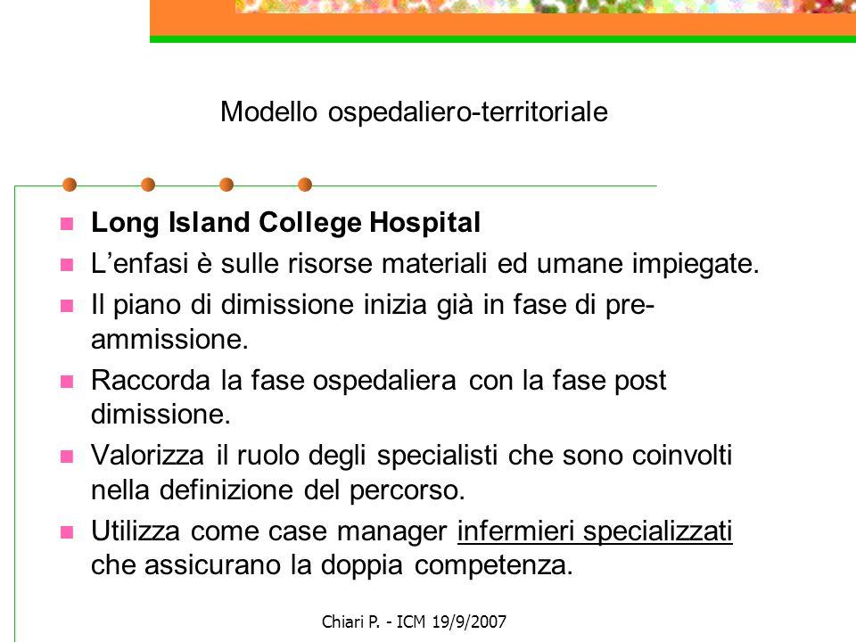 Chiari P. - ICM 19/9/2007 Modello ospedaliero-territoriale Long Island College Hospital Lenfasi è sulle risorse materiali ed umane impiegate. Il piano