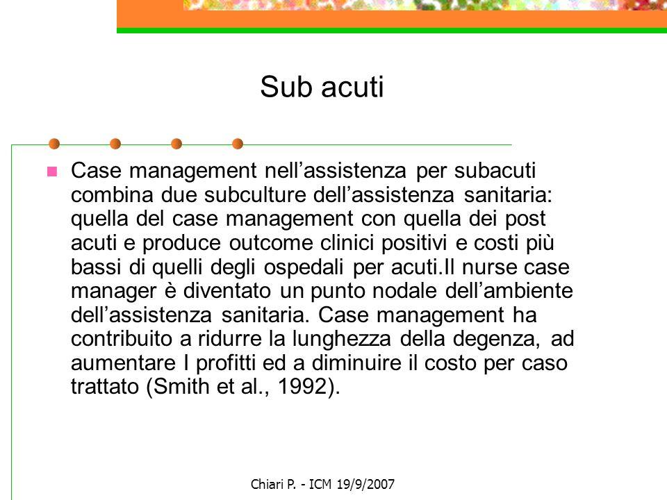 Chiari P. - ICM 19/9/2007 Sub acuti Case management nellassistenza per subacuti combina due subculture dellassistenza sanitaria: quella del case manag
