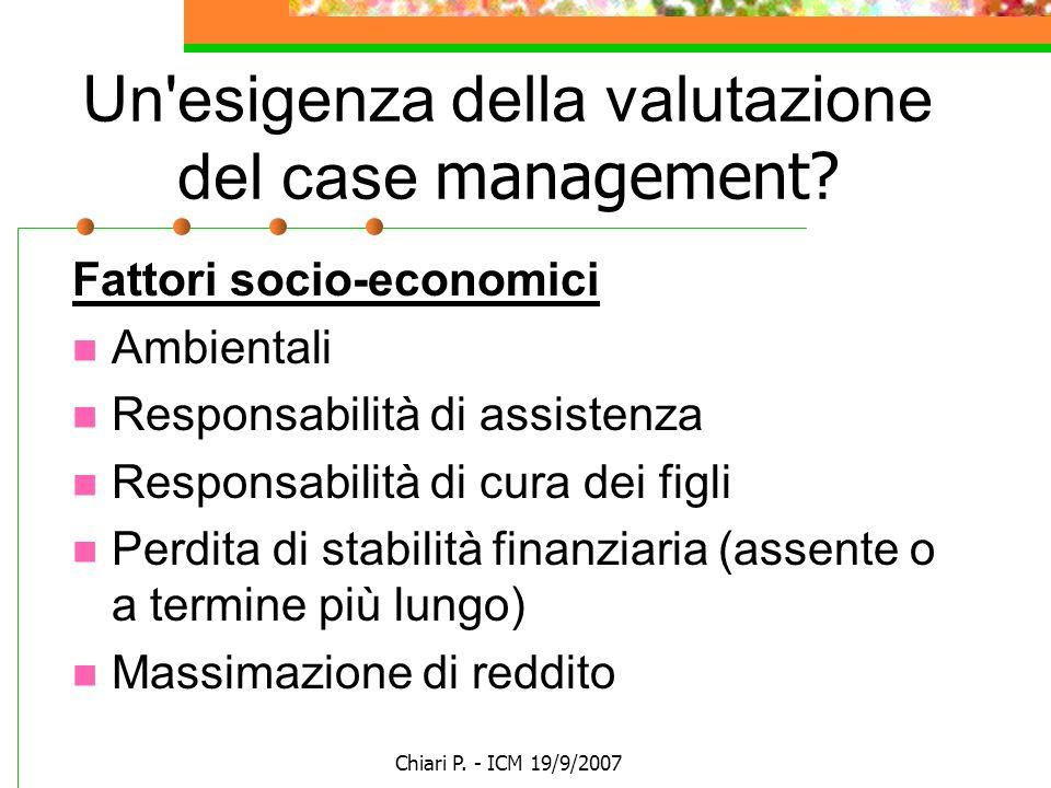 Chiari P. - ICM 19/9/2007 Un'esigenza della valutazione del case management? Fattori socio-economici Ambientali Responsabilità di assistenza Responsab
