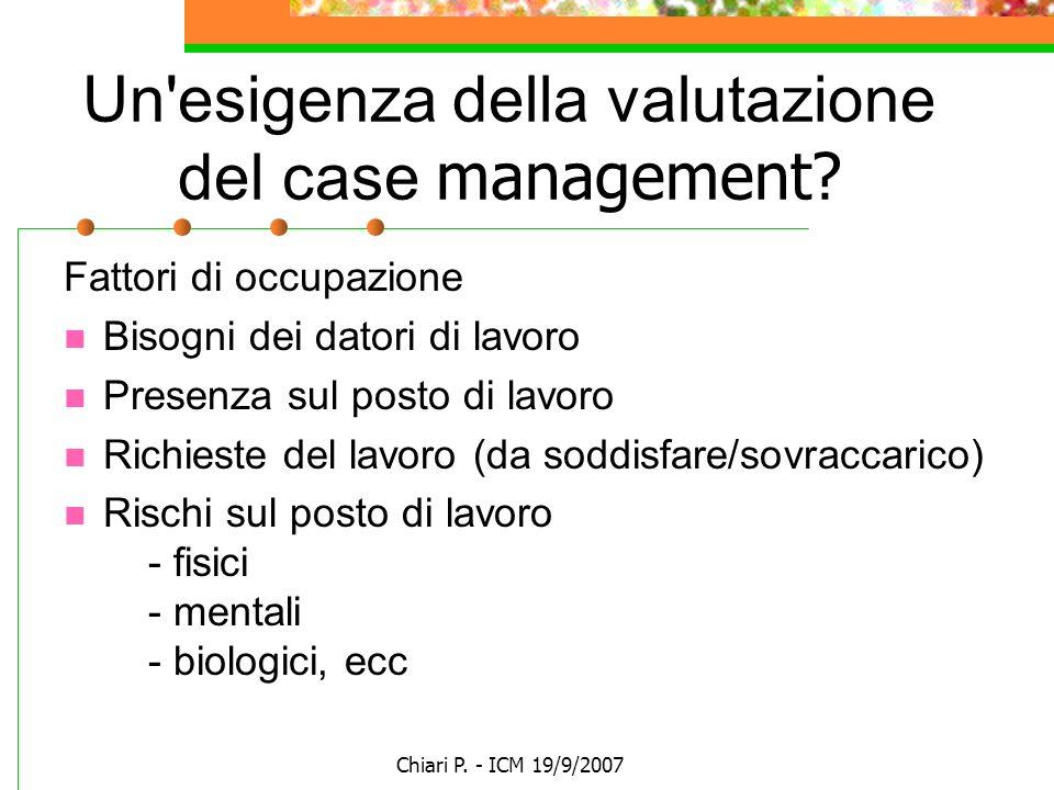 Chiari P. - ICM 19/9/2007 Un'esigenza della valutazione del case management? Fattori di occupazione Bisogni dei datori di lavoro Presenza sul posto di