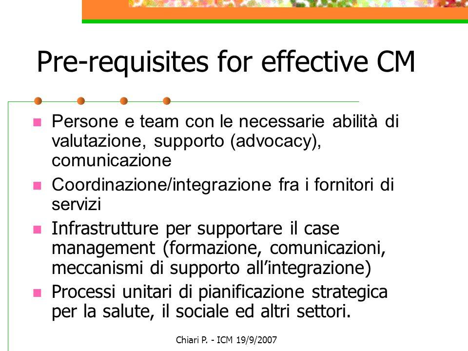 Chiari P. - ICM 19/9/2007 Pre-requisites for effective CM Persone e team con le necessarie abilità di valutazione, supporto (advocacy), comunicazione