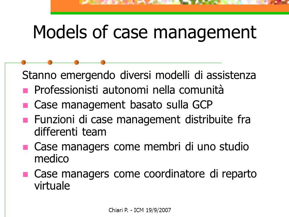 Chiari P. - ICM 19/9/2007 Models of case management Stanno emergendo diversi modelli di assistenza Professionisti autonomi nella comunità Case managem