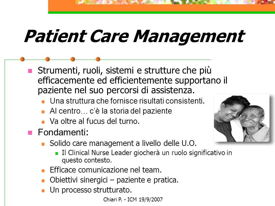 Chiari P. - ICM 19/9/2007 Patient Care Management Strumenti, ruoli, sistemi e strutture che più efficacemente ed efficientemente supportano il pazient