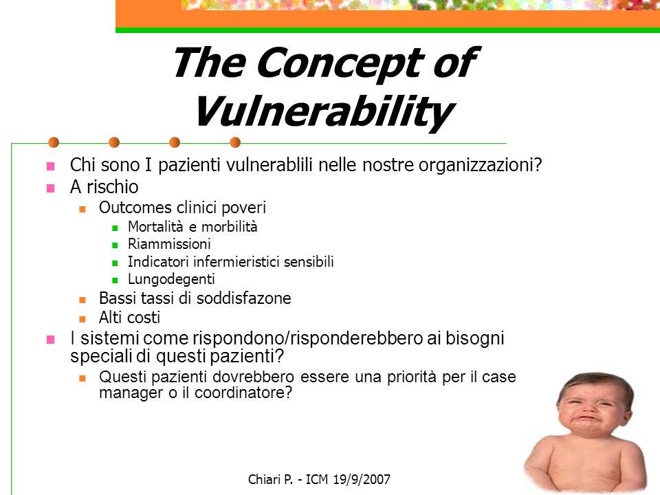 Chiari P. - ICM 19/9/2007 The Concept of Vulnerability Chi sono I pazienti vulnerablili nelle nostre organizzazioni? A rischio Outcomes clinici poveri