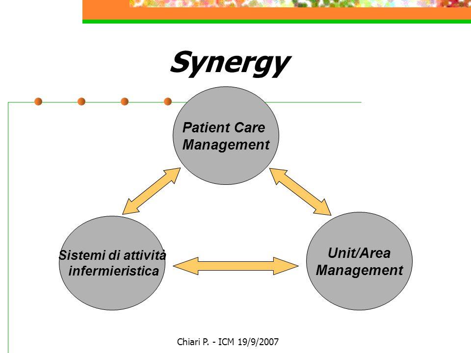 Chiari P. - ICM 19/9/2007 Synergy Patient Care Management Sistemi di attività infermieristica Unit/Area Management
