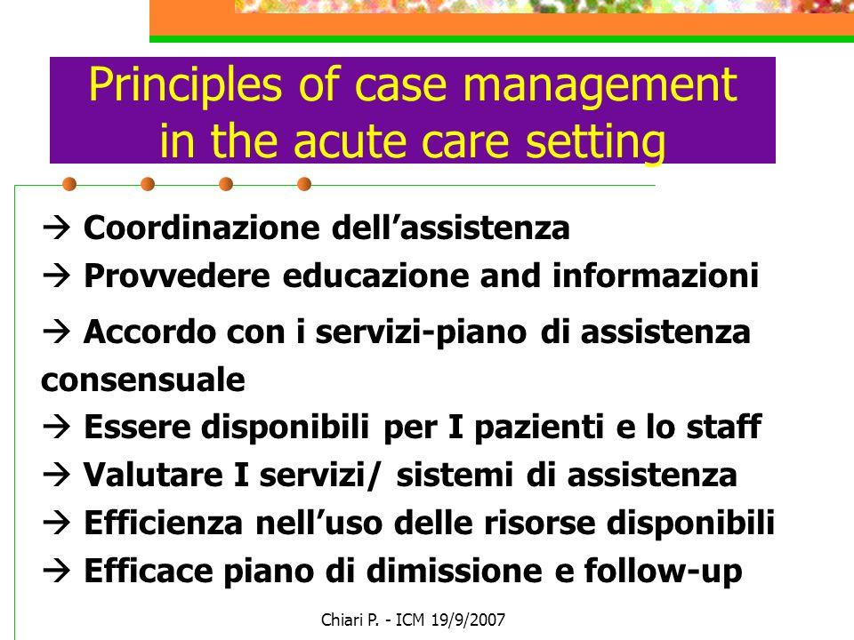 Chiari P. - ICM 19/9/2007 Principles of case management in the acute care setting Coordinazione dellassistenza Provvedere educazione and informazioni