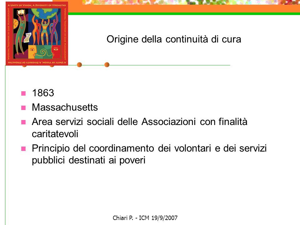 Chiari P. - ICM 19/9/2007 Origine della continuità di cura 1863 Massachusetts Area servizi sociali delle Associazioni con finalità caritatevoli Princi