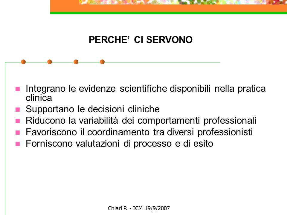 Chiari P. - ICM 19/9/2007 PERCHE CI SERVONO Integrano le evidenze scientifiche disponibili nella pratica clinica Supportano le decisioni cliniche Ridu