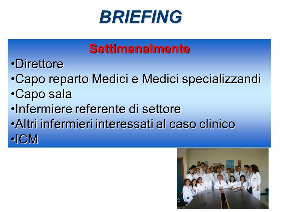 BRIEFING Settimanalmente DirettoreDirettore Capo reparto Medici e Medici specializzandiCapo reparto Medici e Medici specializzandi Capo salaCapo sala