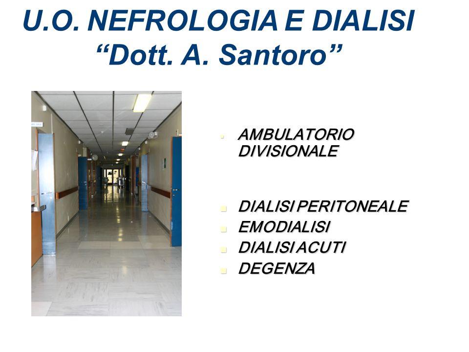 U.O. NEFROLOGIA E DIALISI Dott. A. Santoro AMBULATORIO DIVISIONALE AMBULATORIO DIVISIONALE DIALISI PERITONEALE DIALISI PERITONEALE EMODIALISI EMODIALI