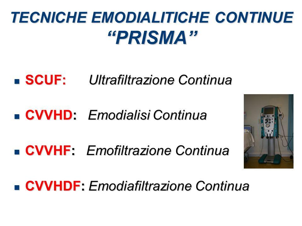 TECNICHE EMODIALITICHE CONTINUE PRISMA SCUF: Ultrafiltrazione Continua SCUF: Ultrafiltrazione Continua CVVHD: Emodialisi Continua CVVHD: Emodialisi Co