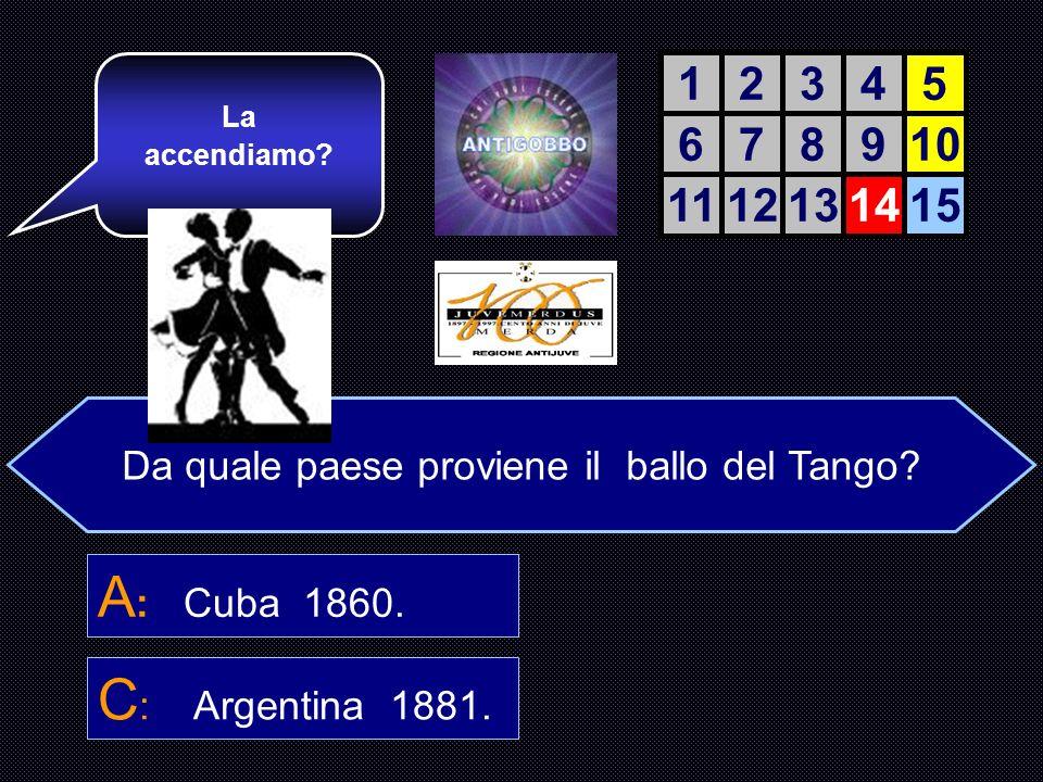 Da quale paese proviene il ballo del Tango.A : Cuba.