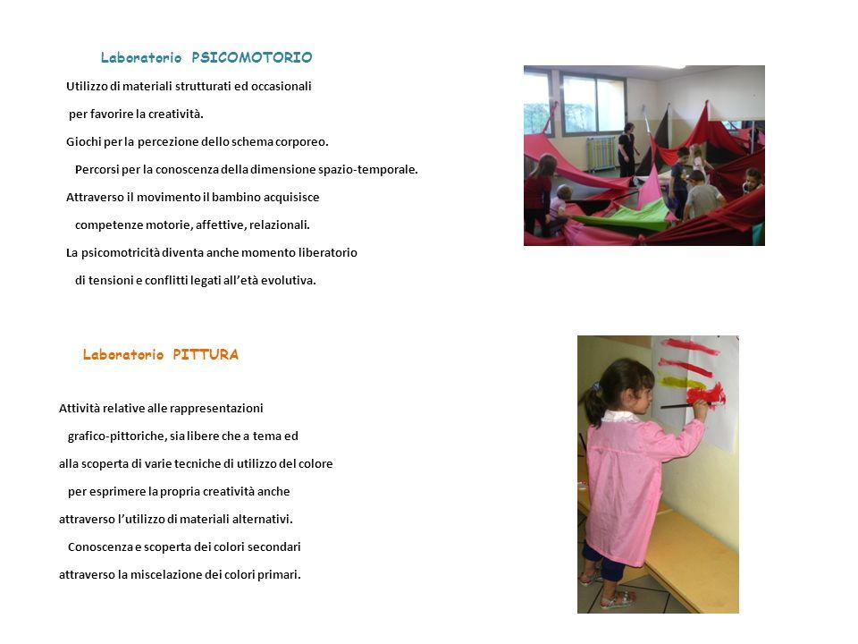 Laboratorio PSICOMOTORIO Utilizzo di materiali strutturati ed occasionali per favorire la creatività. Giochi per la percezione dello schema corporeo.