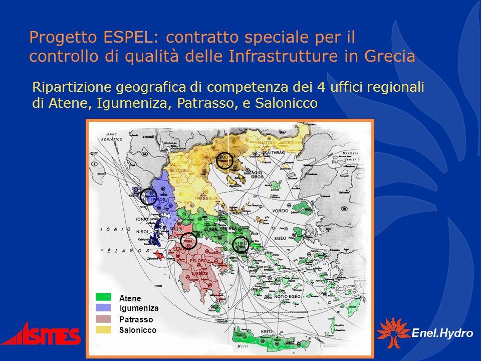 Progetto ESPEL: contratto speciale per il controllo di qualità delle Infrastrutture in Grecia Ripartizione geografica di competenza dei 4 uffici regio