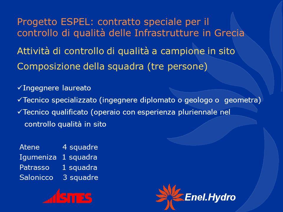 Progetto ESPEL: contratto speciale per il controllo di qualità delle Infrastrutture in Grecia Ingegnere laureato Tecnico specializzato (ingegnere dipl