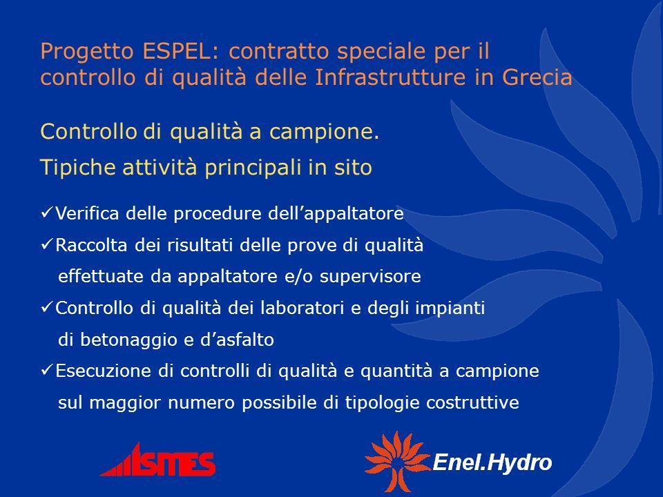 Progetto ESPEL: contratto speciale per il controllo di qualità delle Infrastrutture in Grecia Controllo di qualità a campione. Tipiche attività princi