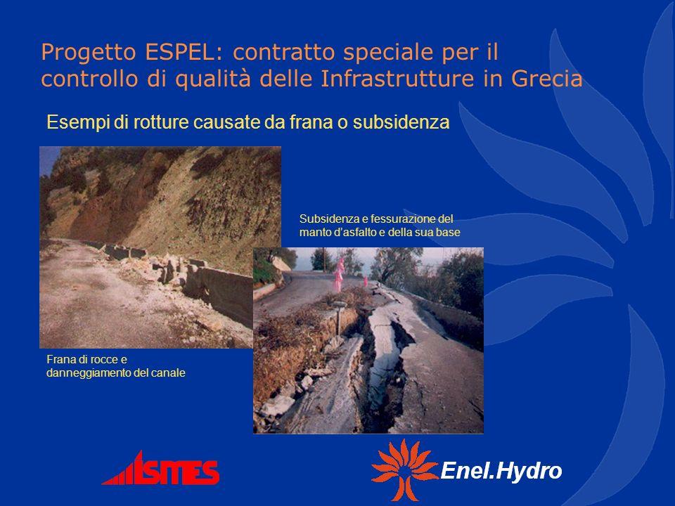 Progetto ESPEL: contratto speciale per il controllo di qualità delle Infrastrutture in Grecia Esempi di rotture causate da frana o subsidenza Frana di