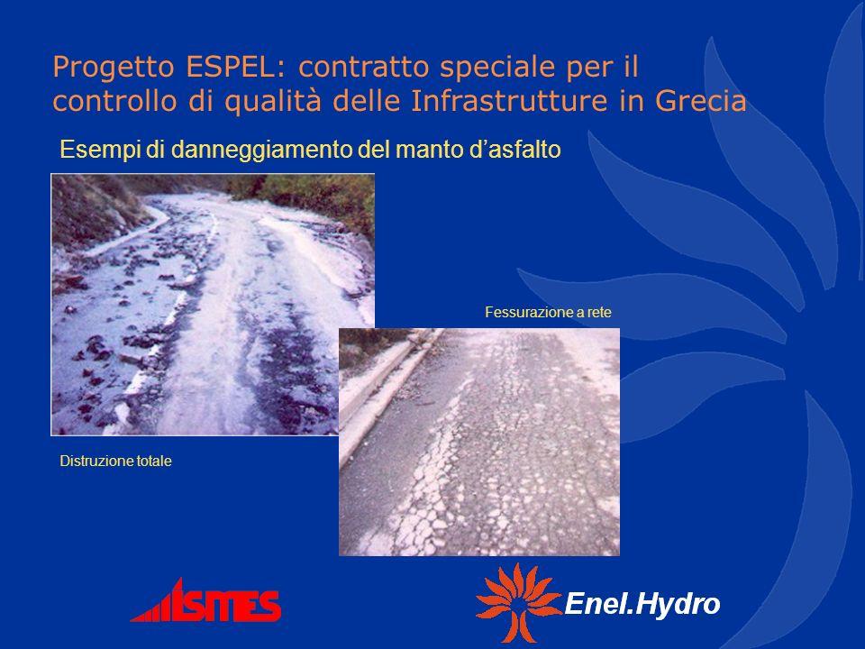 Progetto ESPEL: contratto speciale per il controllo di qualità delle Infrastrutture in Grecia Esempi di danneggiamento del manto dasfalto Distruzione