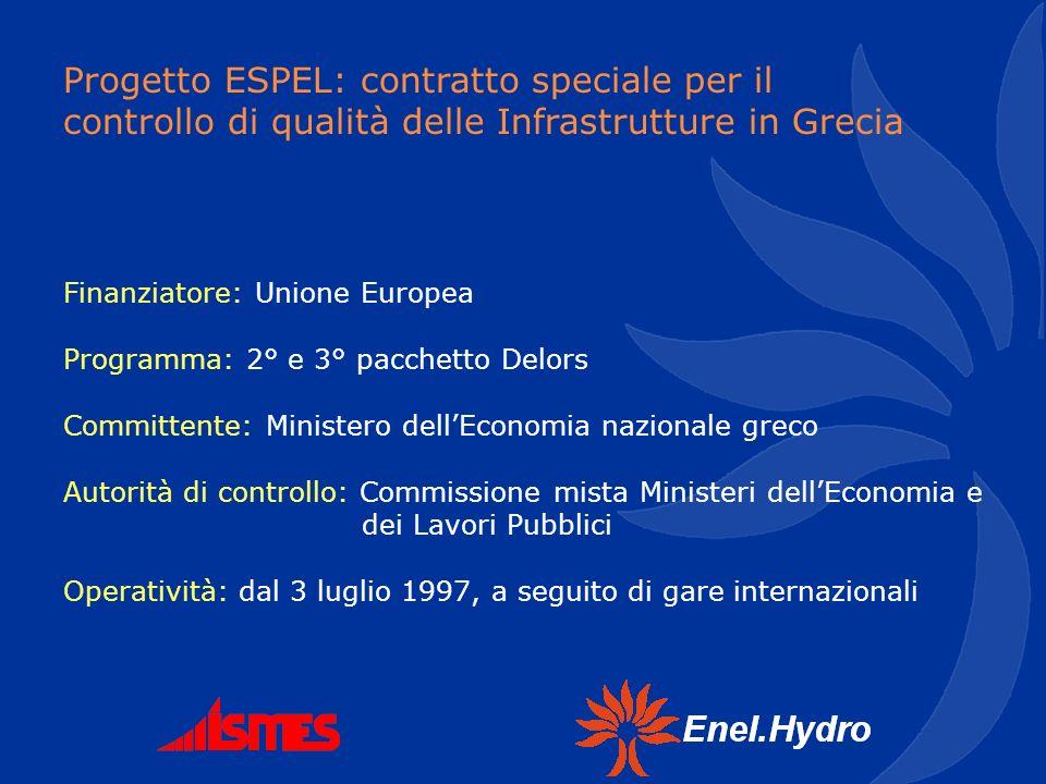 Progetto ESPEL: contratto speciale per il controllo di qualità delle Infrastrutture in Grecia Finanziatore: Unione Europea Programma: 2° e 3° pacchett