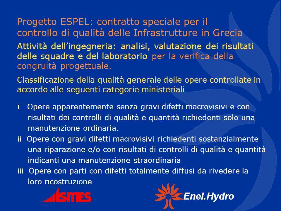 Progetto ESPEL: contratto speciale per il controllo di qualità delle Infrastrutture in Grecia i Opere apparentemente senza gravi difetti macrovisivi e