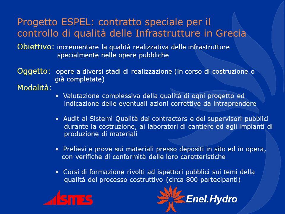 Progetto ESPEL: contratto speciale per il controllo di qualità delle Infrastrutture in Grecia Obiettivo: incrementare la qualità realizzativa delle in