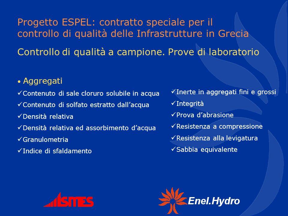 Progetto ESPEL: contratto speciale per il controllo di qualità delle Infrastrutture in Grecia Controllo di qualità a campione. Prove di laboratorio Ag
