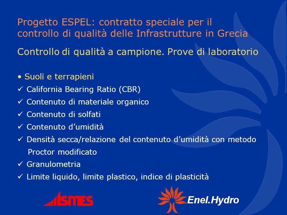 Progetto ESPEL: contratto speciale per il controllo di qualità delle Infrastrutture in Grecia Suoli e terrapieni California Bearing Ratio (CBR) Conten