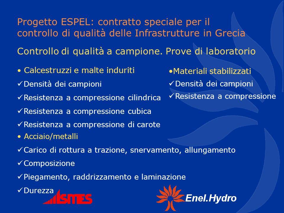 Progetto ESPEL: contratto speciale per il controllo di qualità delle Infrastrutture in Grecia Controllo di qualità a campione. Prove di laboratorio Ca