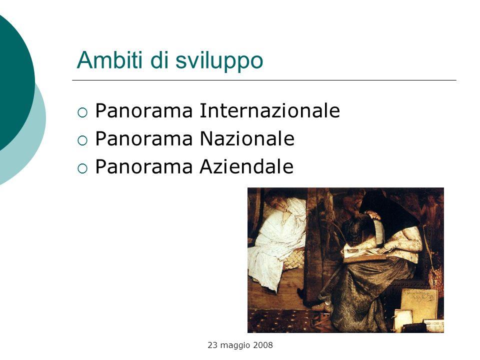 23 maggio 2008 Ambiti di sviluppo Panorama Internazionale Panorama Nazionale Panorama Aziendale