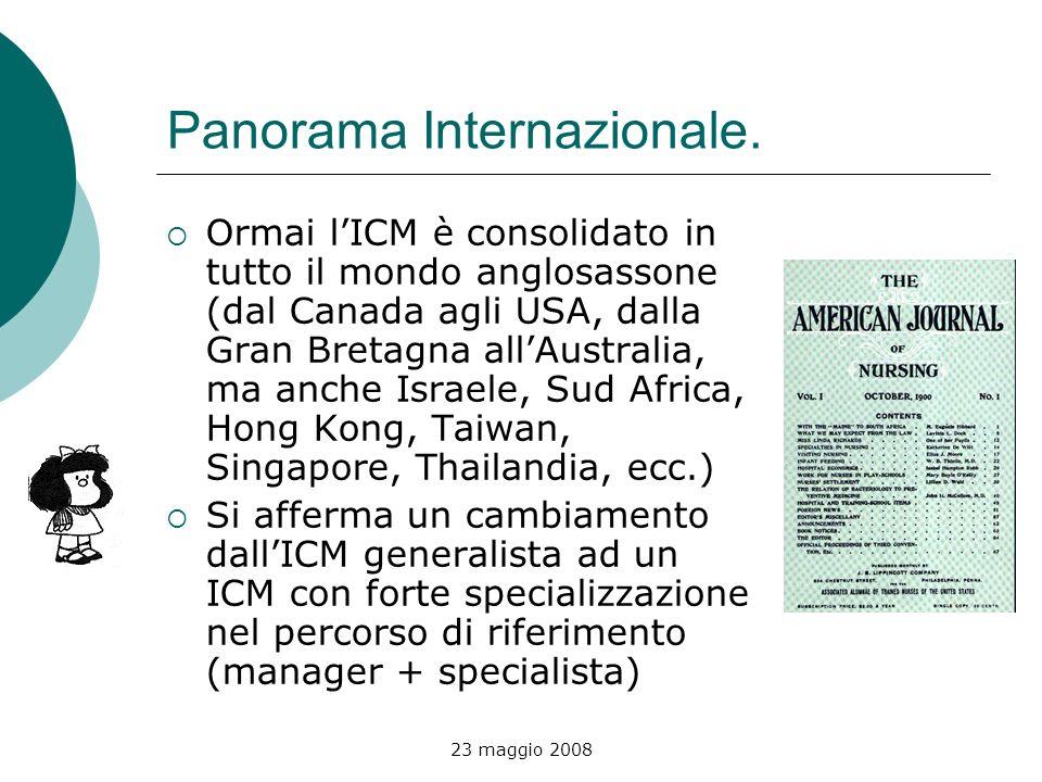 23 maggio 2008 Panorama Internazionale. Ormai lICM è consolidato in tutto il mondo anglosassone (dal Canada agli USA, dalla Gran Bretagna allAustralia