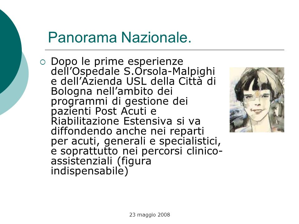 23 maggio 2008 Panorama Nazionale. Dopo le prime esperienze dellOspedale S.Orsola-Malpighi e dellAzienda USL della Città di Bologna nellambito dei pro