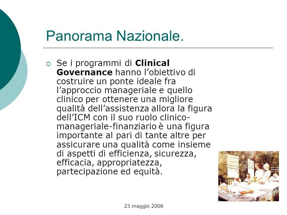 23 maggio 2008 Panorama Nazionale. Se i programmi di Clinical Governance hanno lobiettivo di costruire un ponte ideale fra lapproccio manageriale e qu