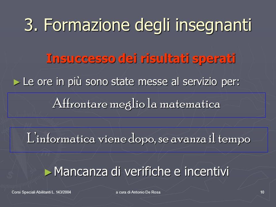 Corsi Speciali Abilitanti L. 143/2004a cura di Antonio De Rosa10 3.