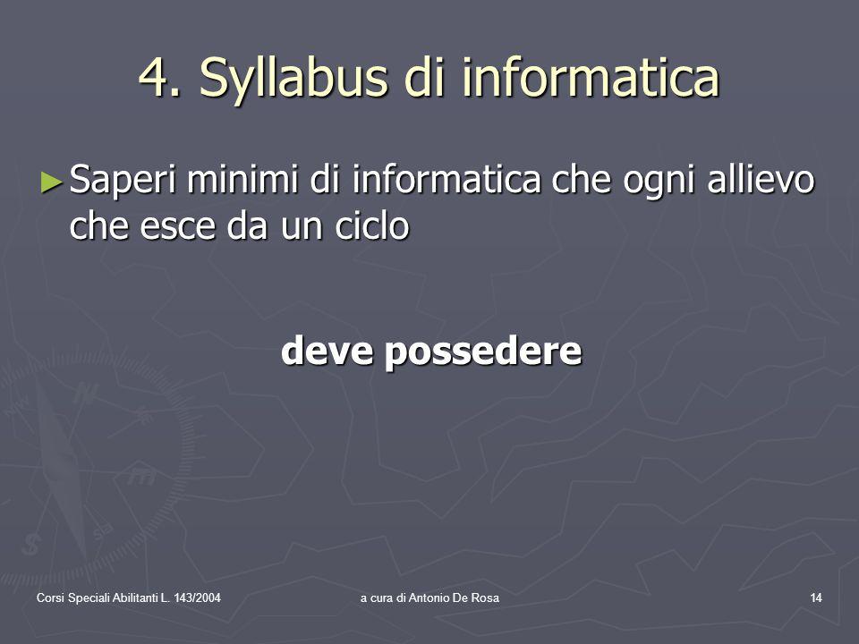 Corsi Speciali Abilitanti L. 143/2004a cura di Antonio De Rosa14 4.