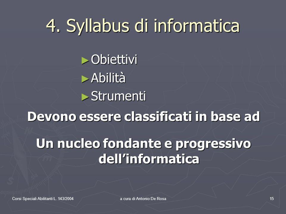 Corsi Speciali Abilitanti L. 143/2004a cura di Antonio De Rosa15 4.