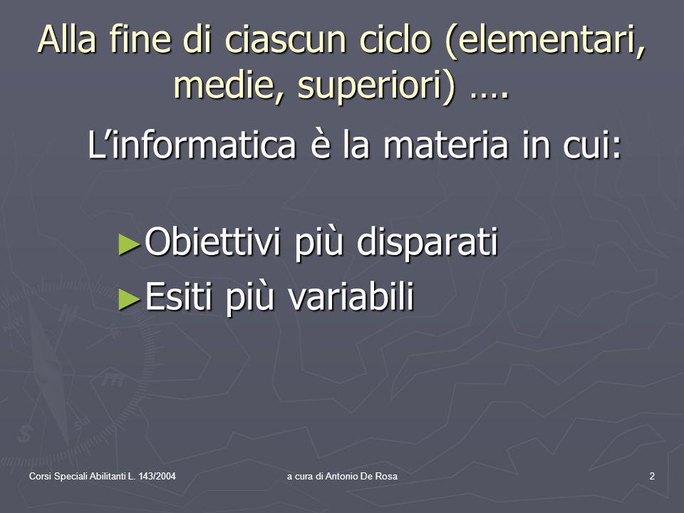 Corsi Speciali Abilitanti L.143/2004a cura di Antonio De Rosa13 3.