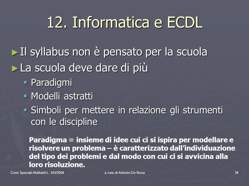 Corsi Speciali Abilitanti L. 143/2004a cura di Antonio De Rosa34 12.