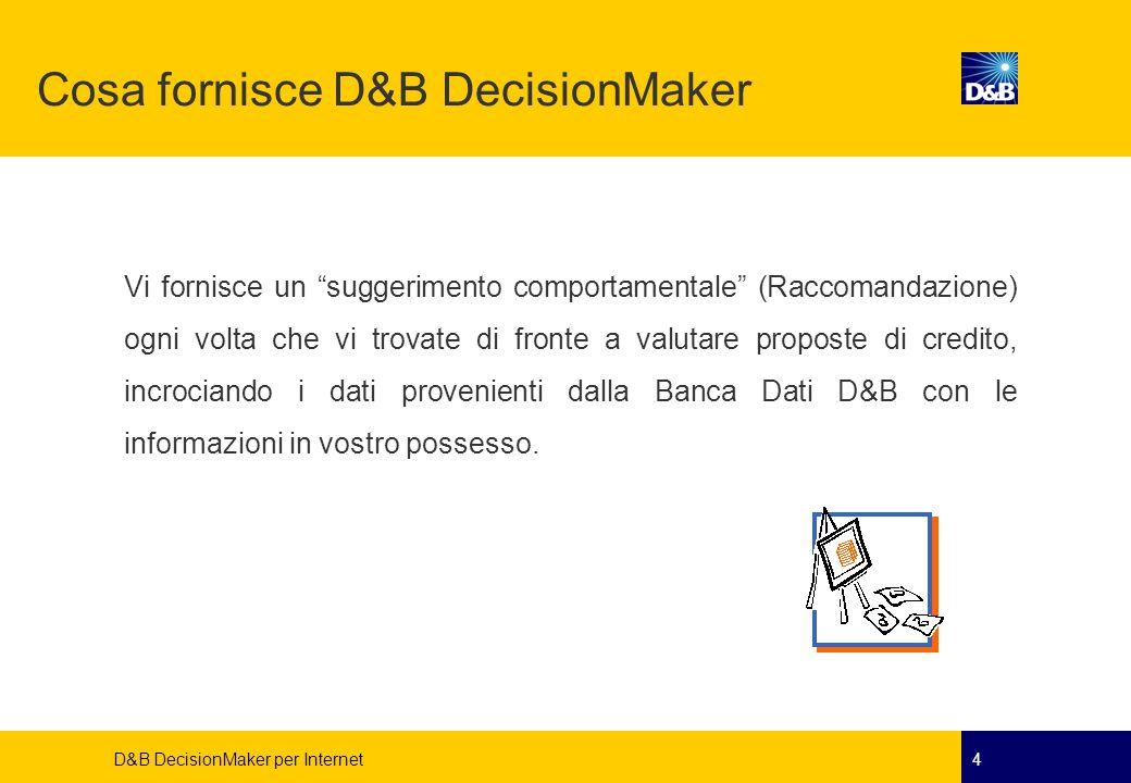 D&B DecisionMaker per Internet4 Cosa fornisce D&B DecisionMaker Vi fornisce un suggerimento comportamentale (Raccomandazione) ogni volta che vi trovat