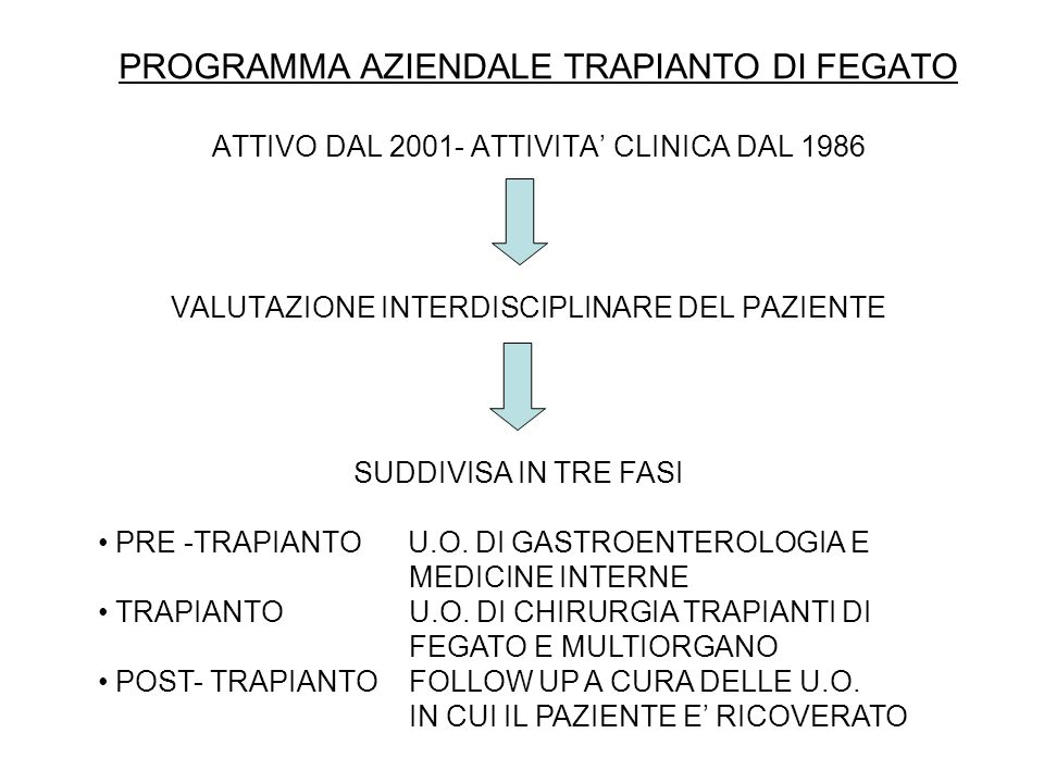 PROGRAMMA AZIENDALE TRAPIANTO DI FEGATO ATTIVO DAL 2001- ATTIVITA CLINICA DAL 1986 VALUTAZIONE INTERDISCIPLINARE DEL PAZIENTE SUDDIVISA IN TRE FASI PR