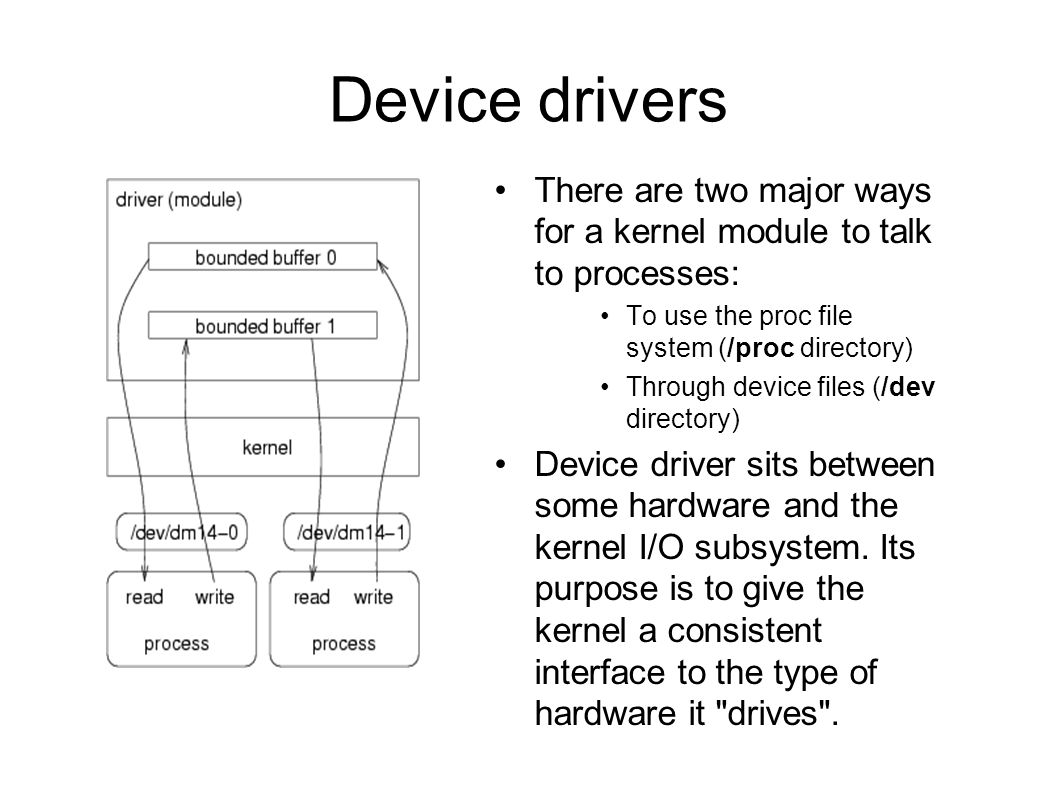 Device drivers There are two major ways for a kernel module to talk to processes: To use the proc file system (/proc directory) Through device files (/dev directory) Device driver sits between some hardware and the kernel I/O subsystem.
